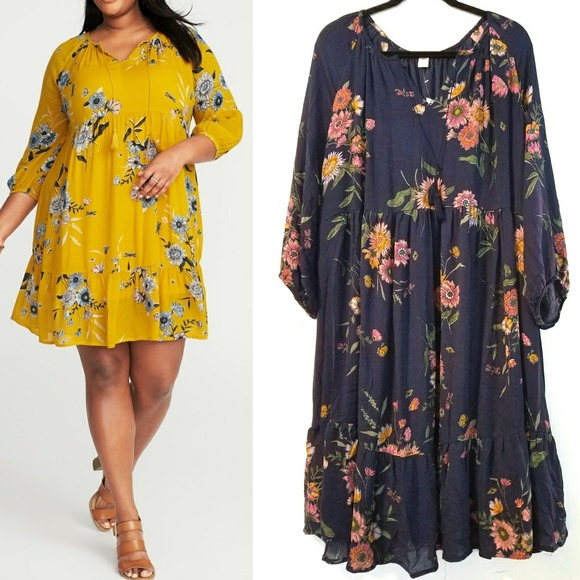 Old Navy Dresses | 3x Plus Size Boho Tie Neck Swing Dress | Poshmark